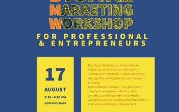 Digital Marketing Workshop – For Professionals & Entrepreneurs 17 August 2019